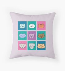 Funny Emotion Cat Faces Throw Pillow