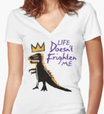 Jean Michel Basquiat Dinosaur Tee Women's Fitted V-Neck T-Shirt