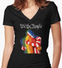 We The People (to print on dark colors) Women's Fitted V-Neck T-Shirt