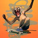 Vintage Urban Skate Tiger Boy Pepe Psyche Sun by Pepe Psyche
