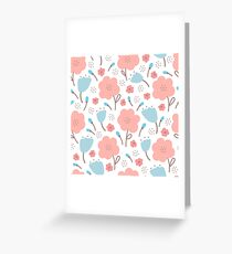 Simple doodle flower pattern. Seamless retro cute background. Greeting Card