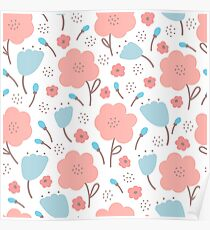 Simple doodle flower pattern. Seamless retro cute background. Poster