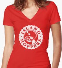 """""""Island Hoppers"""" - As Seen on """"Magnum P.I."""" Women's Fitted V-Neck T-Shirt"""