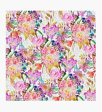 Elegant watercolor floral and dotted brush strokes  Photographic Print