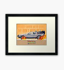 Back to the Future Movie Poster. Marty, McFly in the DeLorean.  Framed Print