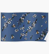 Manuka with Bees on rich blue Poster