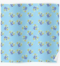 the pattern of flowers on a blue background Poster