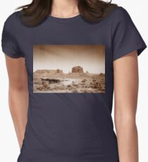 Vintage, artistic concept showing the old image of the unique natural structures in Monument Valley. Women's Fitted T-Shirt