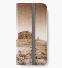 Vintage, artistic concept showing the old image of the unique natural structures in Monument Valley. iPhone Wallet/Case/Skin