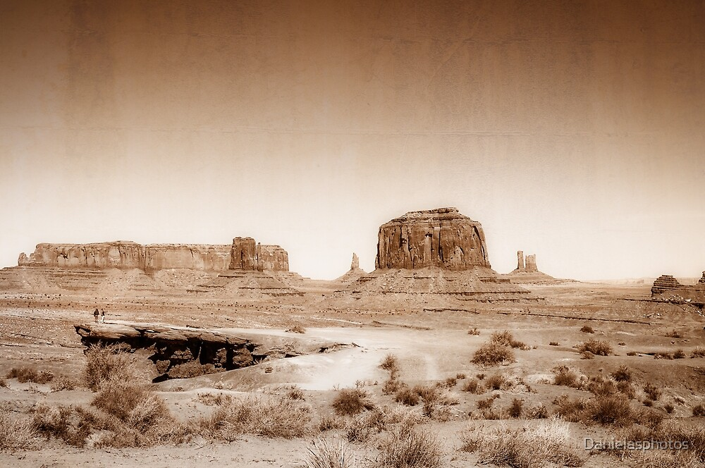 Vintage, artistic concept showing the old image of the unique natural structures in Monument Valley. by Danielasphotos