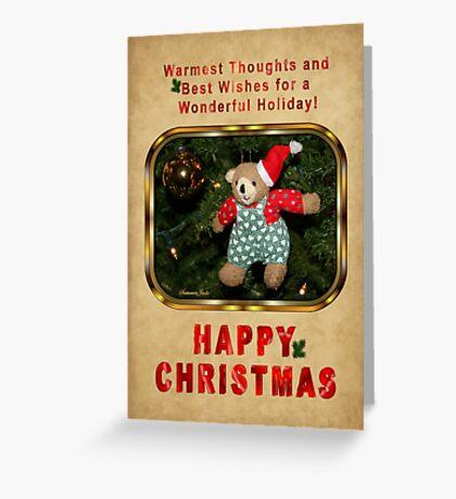 Happy Christmas Wishes ~ Teddy Bear Greeting Card