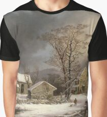 George Henry Durrie - Winter In The Country A Cold Morning Graphic T-Shirt