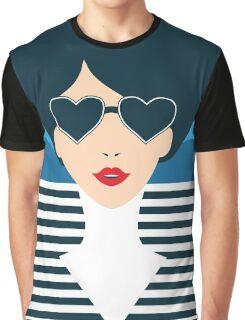 Stylish beautiful model for fashion design. Art deco graphic illustration. Portrait of pretty girl on sea. Elegant striped vector style. Graphic T-Shirt