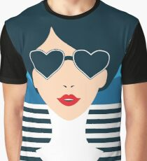 Stylish beautiful model for fashion design. Art deco graphic illustration. Portrait of pretty girl on sea. Elegant striped vector style. Graphic T-Shirt