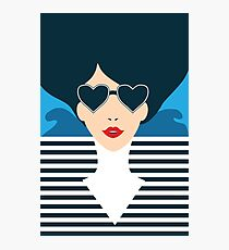 Stylish beautiful model for fashion design. Art deco graphic illustration. Portrait of pretty girl on sea. Elegant striped vector style. Photographic Print