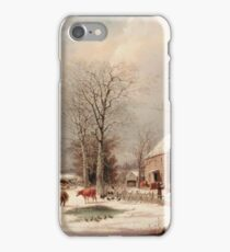 George Henry Durrie - Farmyard In Winter1858 iPhone Case/Skin