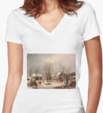 George Henry Durrie - Farmyard In Winter1858 Women's Fitted V-Neck T-Shirt