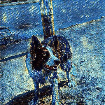 Border Collie - Mesmerizing Eye - Herding Dog - Stylized Painting 2 by rickitywrecked