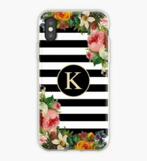 Monogram K On Vintage Flowers And Black And White Stripes iPhone Case