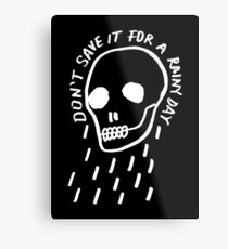 rainy day simple skull with hand drawn type (dark) Metal Print