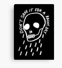 rainy day simple skull with hand drawn type (dark) Canvas Print