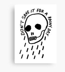 rainy day simple skull with hand drawn type Canvas Print
