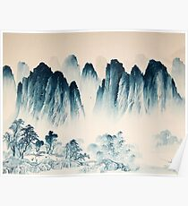 china landscape watercolor ink Poster