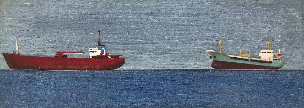 TWO SMALL SHIPS PANEL by jo vautier