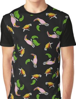 pattern toucan and macaw parrots on a black background.  Graphic T-Shirt