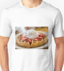Waffle Topped with Strawberries and Whipped Cream Unisex T-Shirt