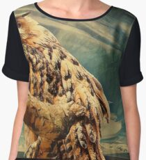 High on a branch there was an owl Chiffon Top
