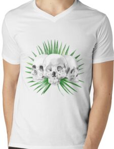Watercolor Skull WIth Leaves Mens V-Neck T-Shirt