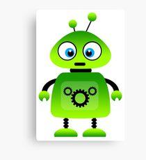 green robot machine work Canvas Print