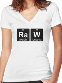 Ra W - Raw - Periodic Table - Chemistry - Chest Women's Fitted V-Neck T-Shirt