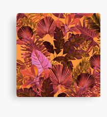 Grand Reverie - Tropical Leaf Yellow Orange and Pink Canvas Print