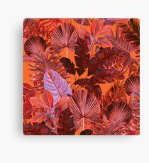 Grand Reverie - Tropical Leaf Pink, Red, Orange Canvas Print