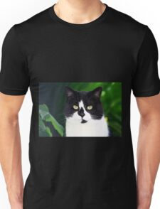 Black and white cat looking at camera Unisex T-Shirt