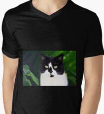 Black and white cat looking at camera Mens V-Neck T-Shirt