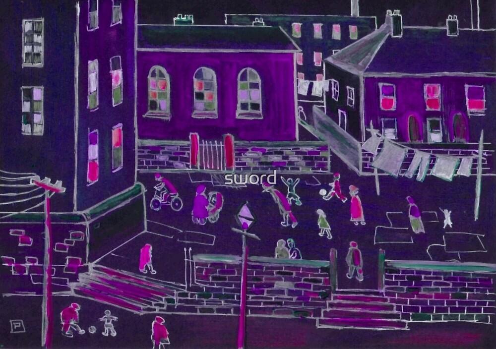 Busy street life ( from my original acrylic painting digitally enhanced) by sword