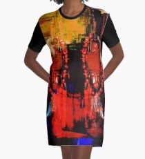 Digital Tribal Oil Painting  Graphic T-Shirt Dress