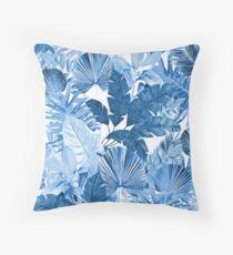 Grand Reverie - Tropical Leaf Blue Throw Pillow