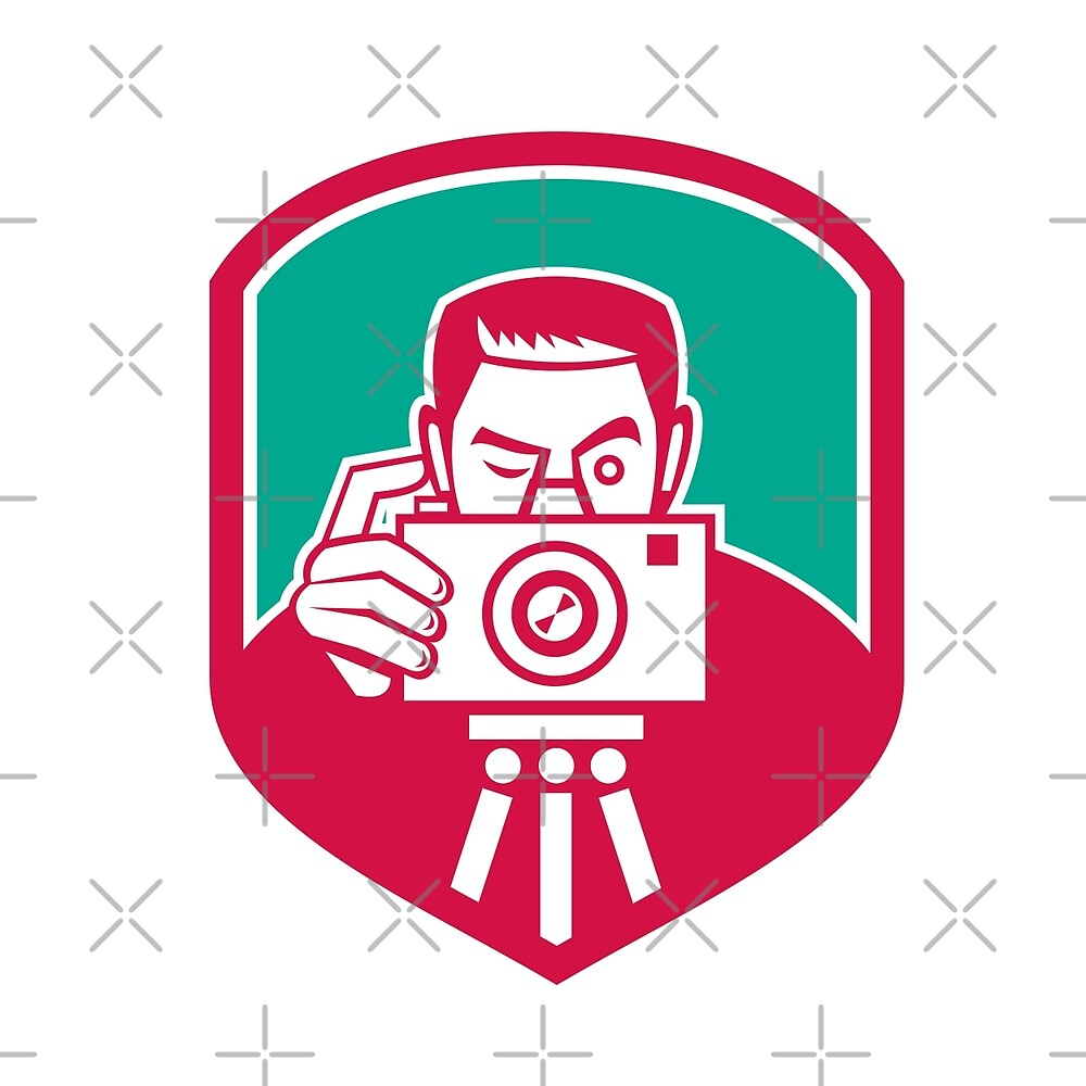 Photographer Shooting Camera Shield Retro by patrimonio