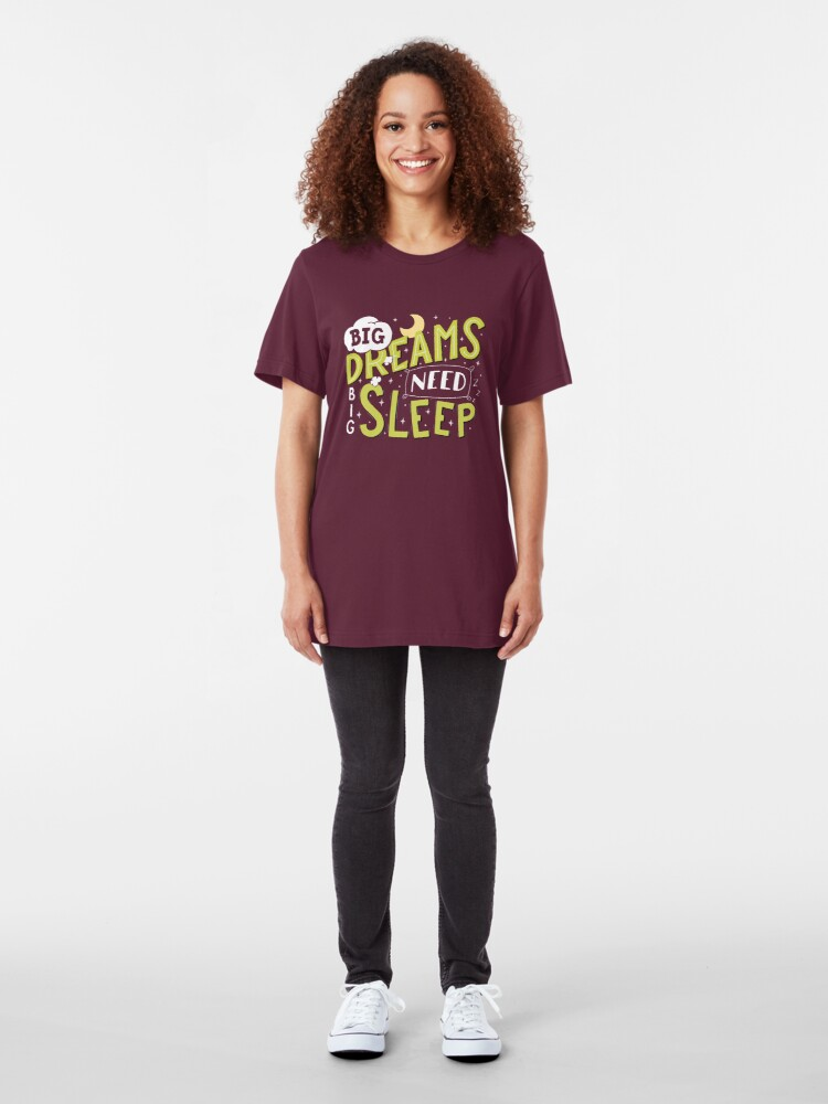 Alternate view of Big dreams need big sleep - Green Slim Fit T-Shirt