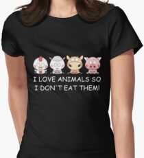 I LOVE ANIMALS SO I DON'T EAT THEM! Vegan Women's Fitted T-Shirt