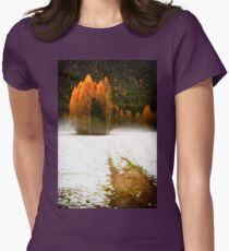 Group of pine trees in the mist Womens Fitted T-Shirt