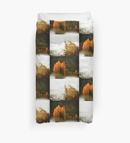 Group of pine trees in the mist Duvet Cover