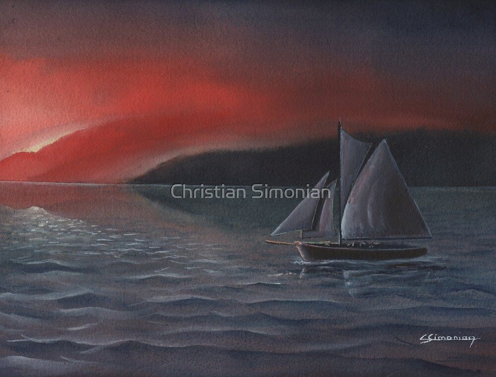 Sailboat in Twilight by Christian Simonian