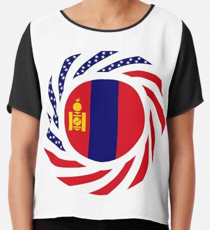 Mongolian American Multinational Patriot Flag Series Chiffon Top