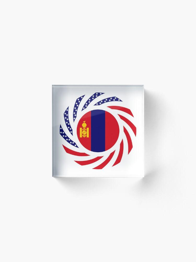 Alternate view of Mongolian American Multinational Patriot Flag Series Acrylic Block