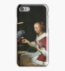 Frans Van Mieris The Elder - A Woman In A Red Jacket Feeding A Parrot iPhone Case/Skin